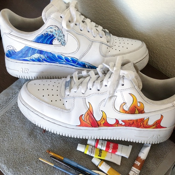 Nike Air Force 1 shoes custom fire \u0026 water NWT